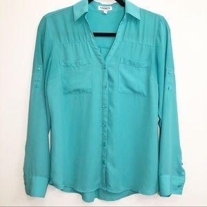 Express | Turquoise Button Down Blouse